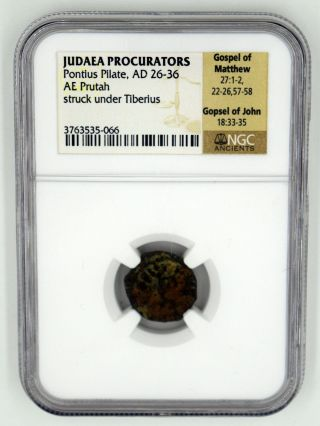 A Ngc Prutah Of Pontius Pilate With Lituus photo