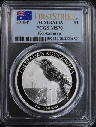 2016 - P Australia $1 1 Oz.  999 Silver Kookaburra Pcgs Ms70 1st Strike Australian photo