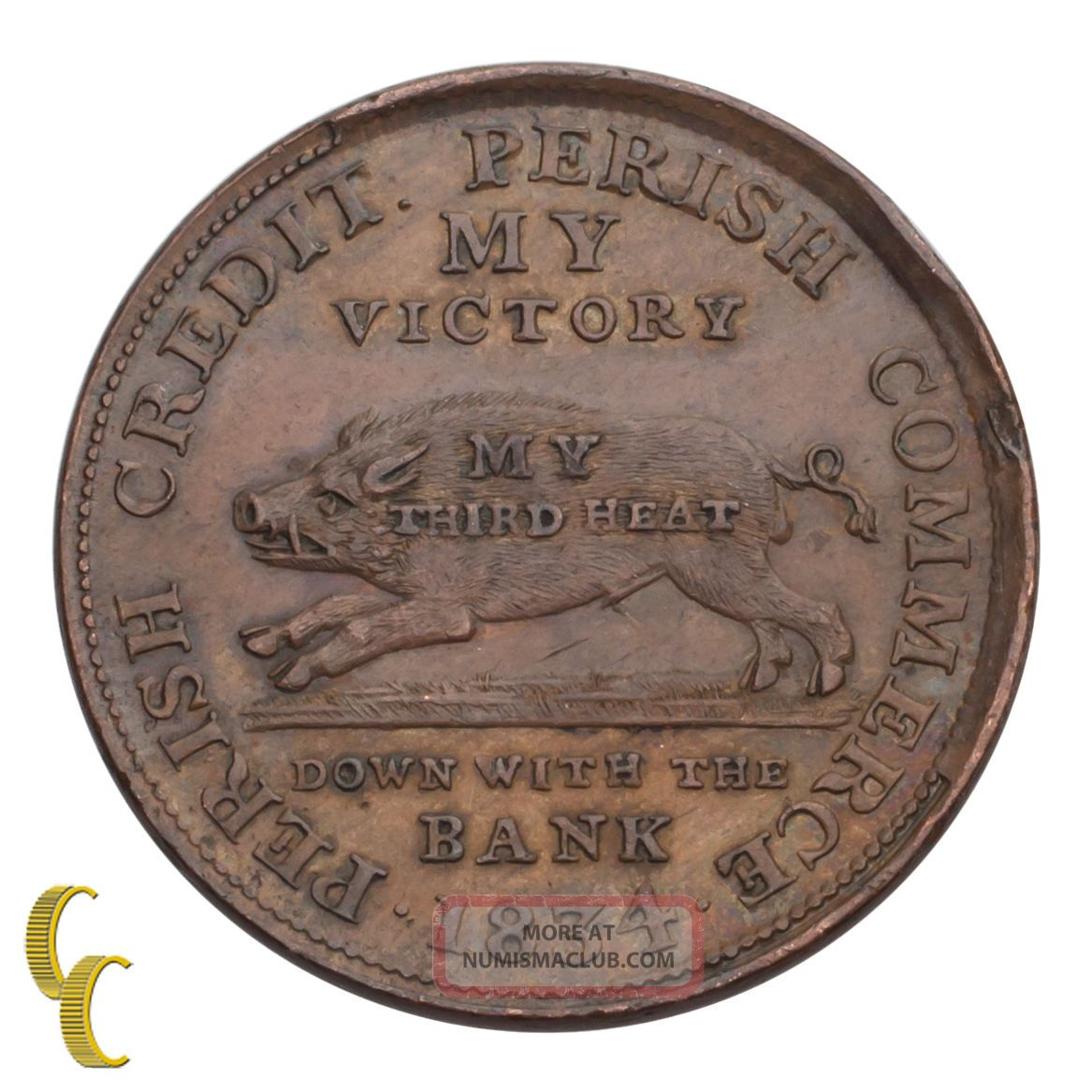 1834 Hard Times Token My Victory (xf) Extra Fine Details Exonumia photo