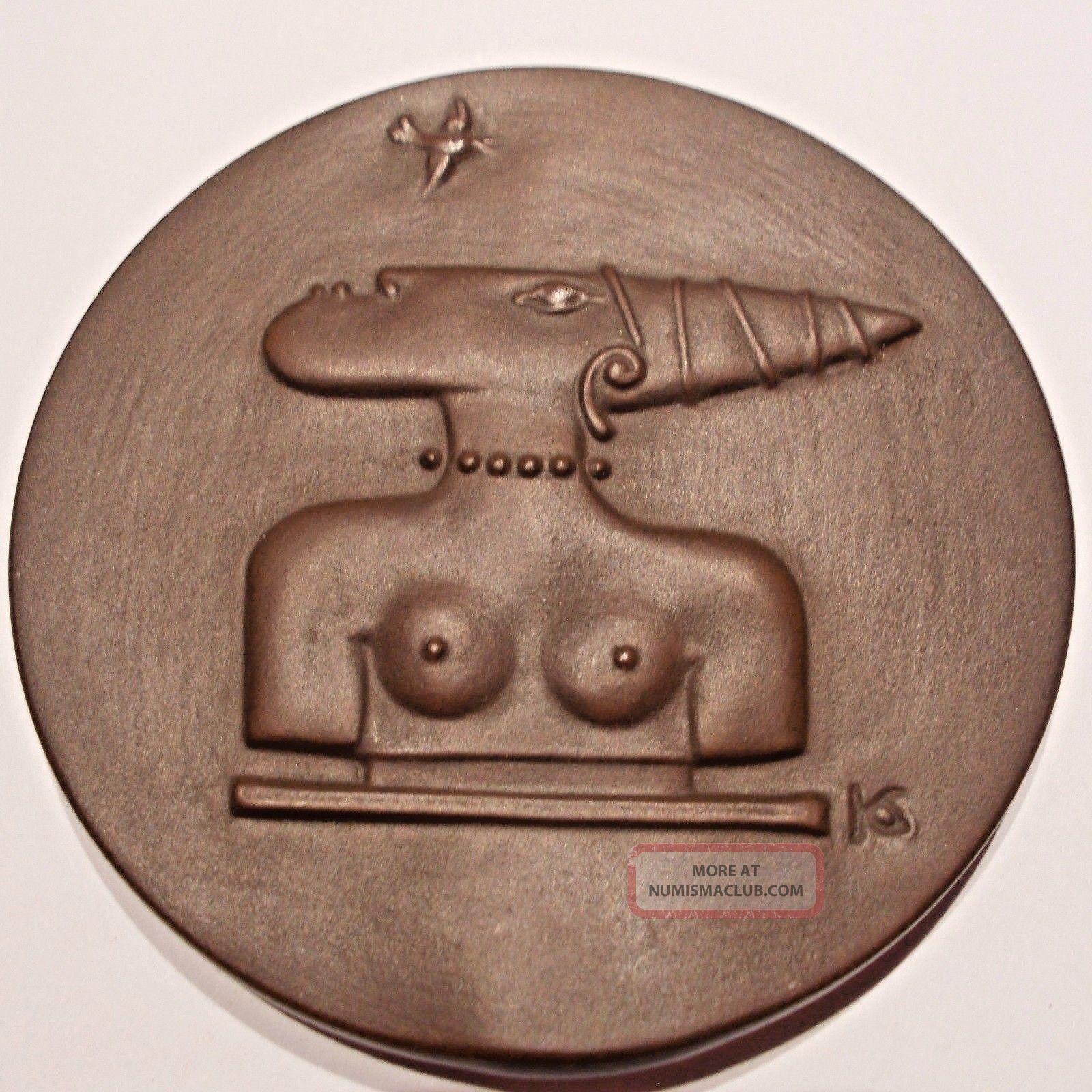German Porcelain Medal For Africa By Silvia Klode.  Meissen Swords. Exonumia photo