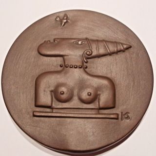 German Porcelain Medal For Africa By Silvia Klode.  Meissen Swords. photo