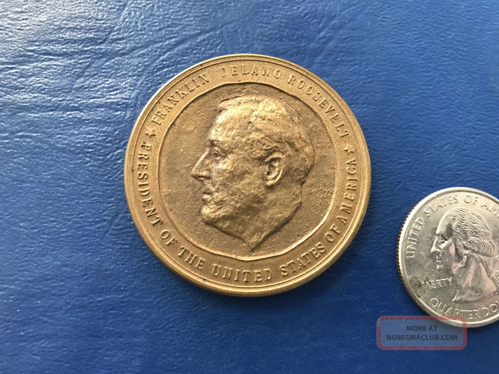1941 Franklin Roosevelt Official Inaugural Medal Bronze Very Scarce Type 1 Fdr Exonumia photo