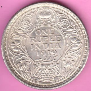 British India - 1919 - King George V - One Rupee - Rarest Silver Coin - 24 photo