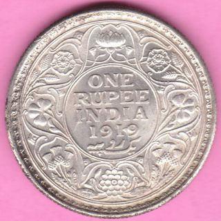 British India - 1919 - King George V - One Rupee - Rarest Silver Coin - 23 photo