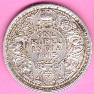 British India - 1913 - King George V - One Rupee - Rarest Silver Coin - 22 photo