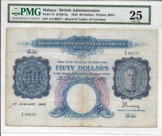 Malaya / British Administration - $50,  1942.  Pmg 25.  Rare. photo