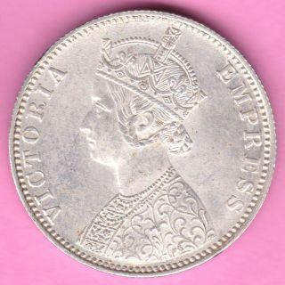 British India - 1900 - ' B ' Incuse - One Rupee - Victoria Queen - Silver Coin - 15 photo