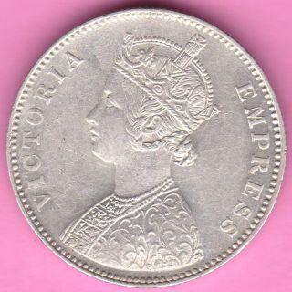 British India - 1885 - ' B ' Incuse - One Rupee - Victoria Queen - Silver Coin - 13 photo