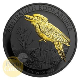 2016 1oz $1 Australian 999 Fine Silver Kookaburra Ruthenium 24k Gold Gilded Rare photo
