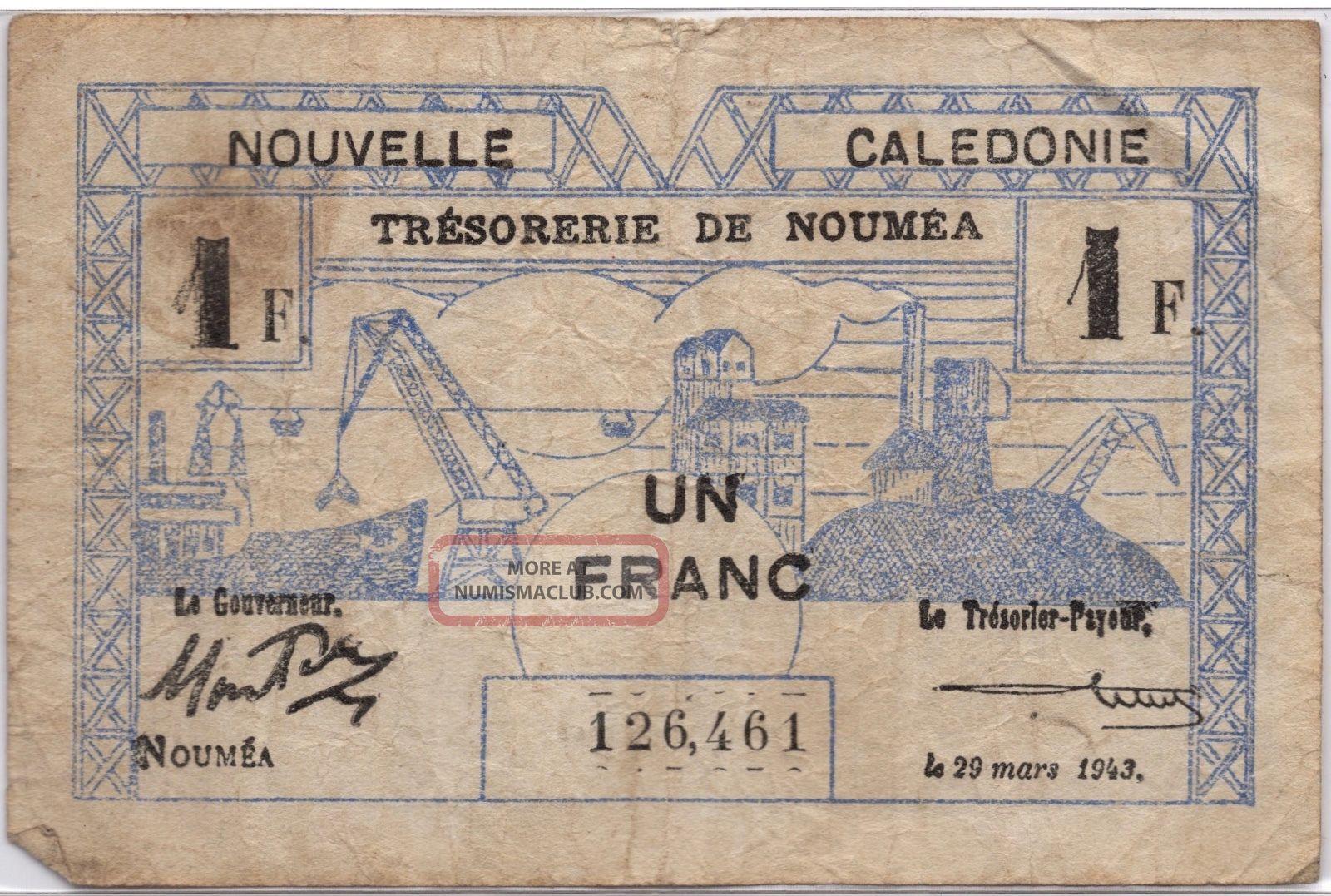 Ww2 Un Franc France Nouvelle Caledonie March 29 1943 Note 1 Australia & Oceania photo