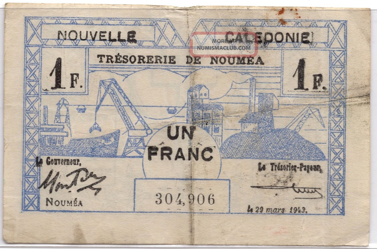 Ww2 Un Franc France Nouvelle Caledonie March 29 1943 Note 2 Australia & Oceania photo