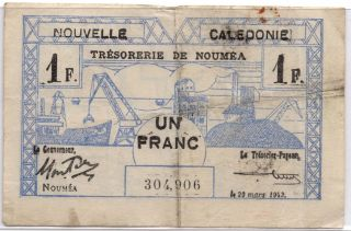 Ww2 Un Franc France Nouvelle Caledonie March 29 1943 Note 2 photo