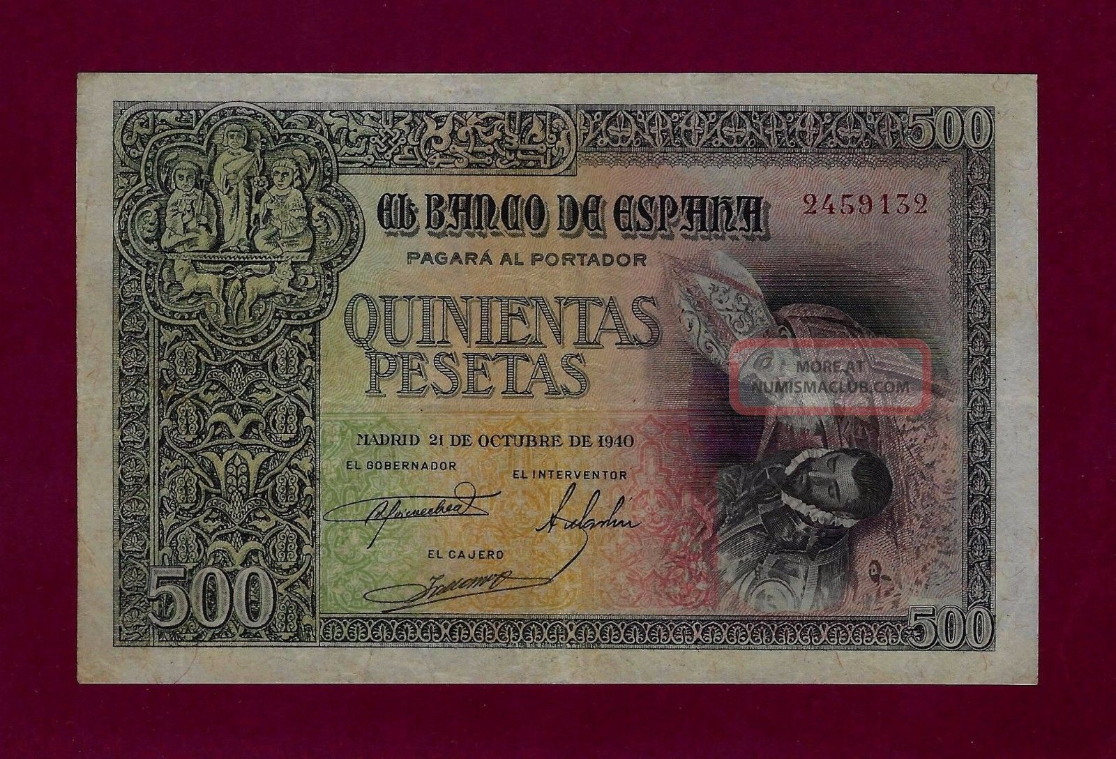 Spain 500 Pesetas 1940 P - 124 Vf, Europe photo