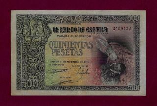 Spain 500 Pesetas 1940 P - 124 Vf, photo