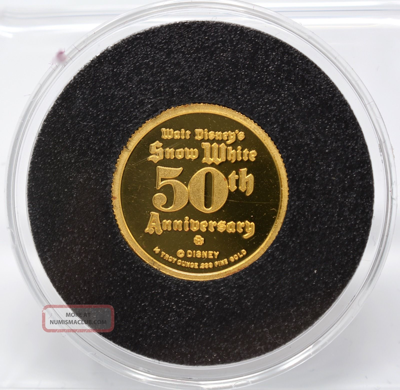 1987 50th Anniversary Of Snow White 1/4 Ozt.  999 Gold Coin - Disney Gold photo