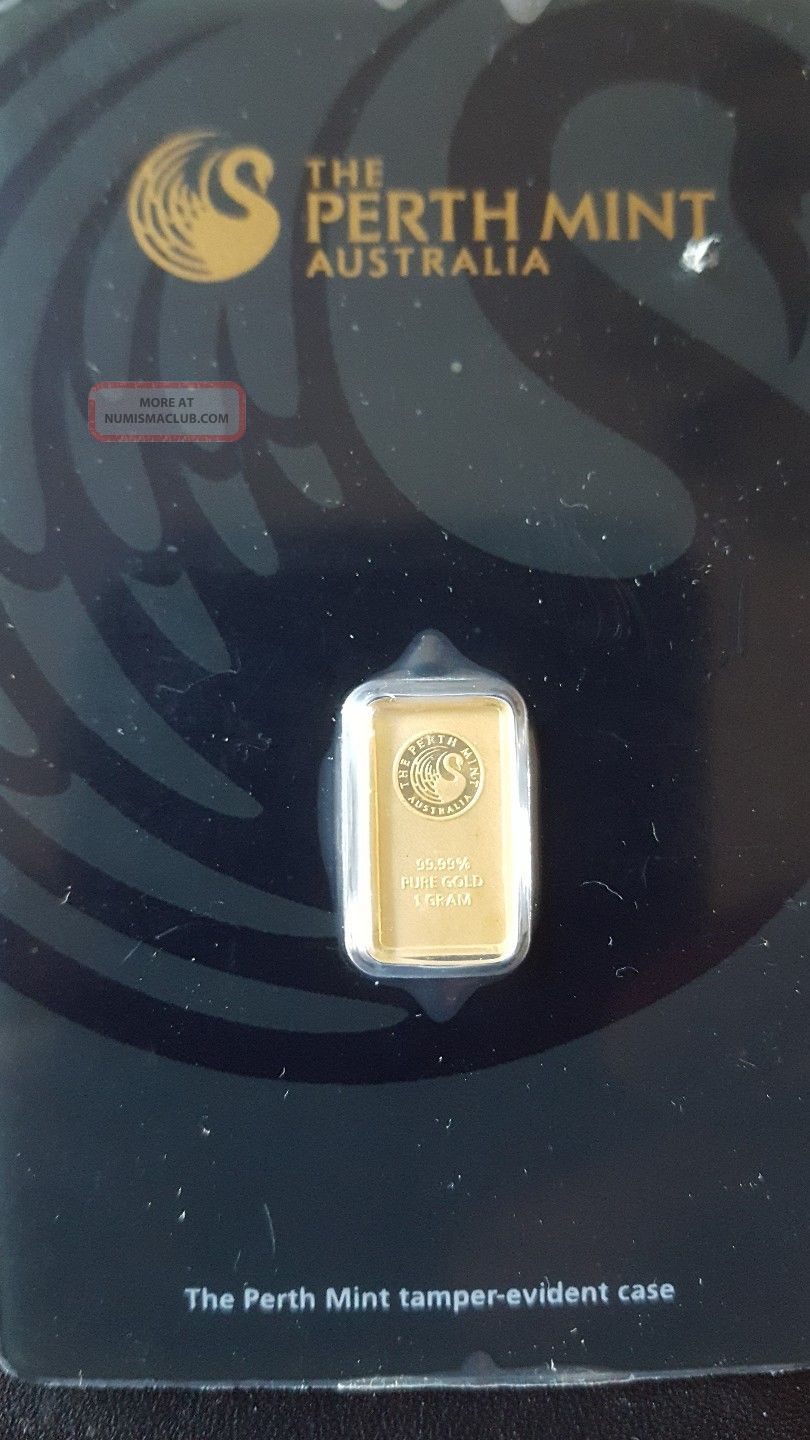 1 Gram Gold Bar - Perth - 99.  99 Fine In Assay Bars & Rounds photo