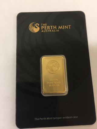Perth 10 Gram.  9999 Gold Bar With Assay Certificate photo