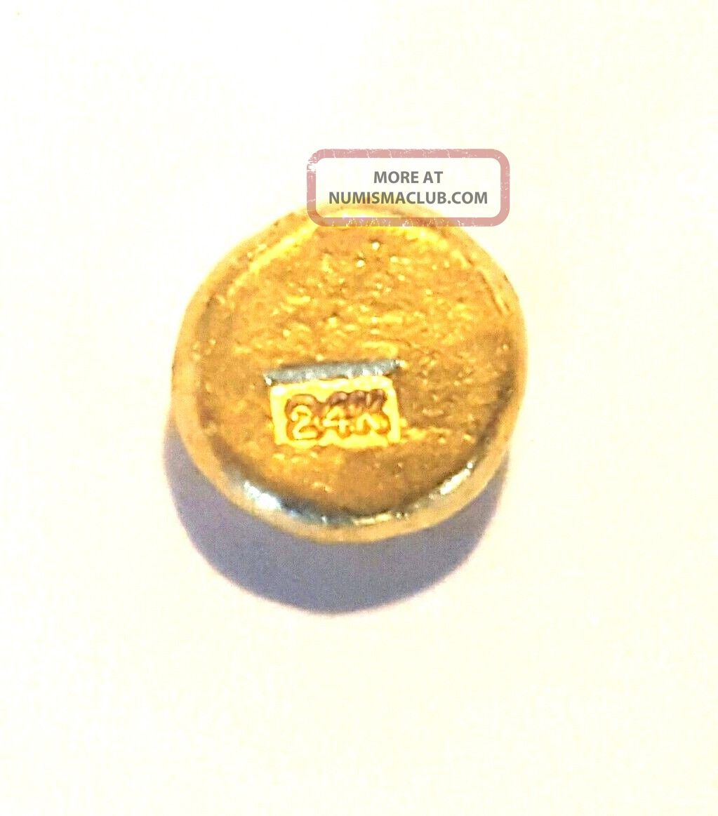 2.  5 Gram.  999 Fine 24k Gold Round - Hand Poured - Hand Stamped - Grimm Metals Gold photo