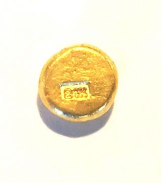 2.  5 Gram.  999 Fine 24k Gold Round - Hand Poured - Hand Stamped - Grimm Metals photo