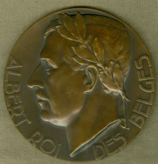 1934 Belgium Medal Issued To Honor King Albert Upon His Death,  By G.  Verbanck photo