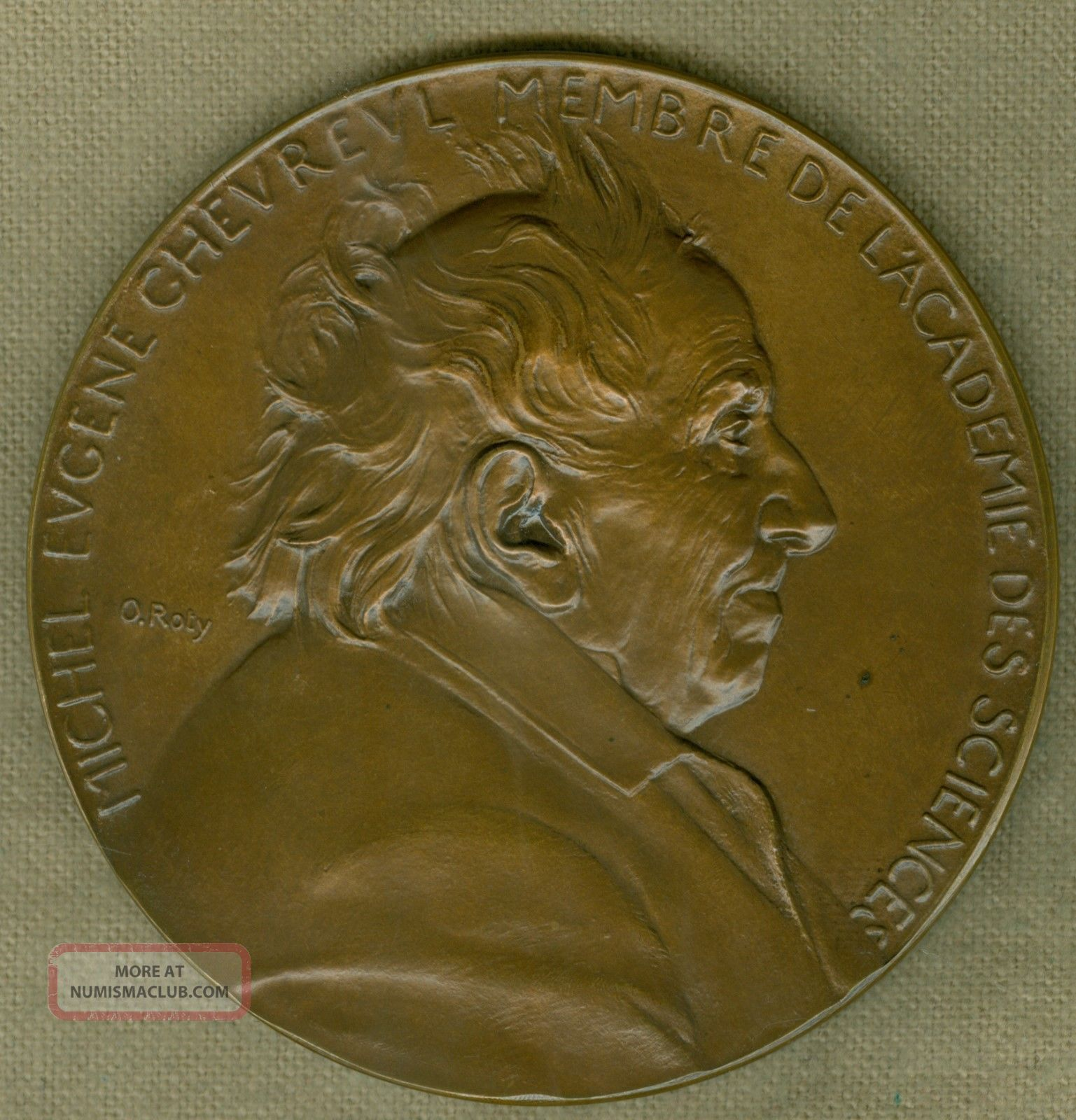 1886 French Medal Issued To Honor Michel Eugene Chevreul,  Engraved By O ' Roty Exonumia photo