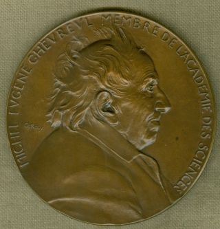 1886 French Medal Issued To Honor Michel Eugene Chevreul,  Engraved By O ' Roty photo