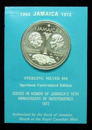 1972 Jamaica Unc $10 (10 Dollar) Silver Coin In photo