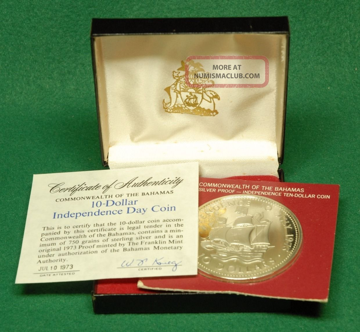 1973 Bahamas $10 (10 Dollar) Silver Proof Coin,  Independence Day,  With Case North & Central America photo