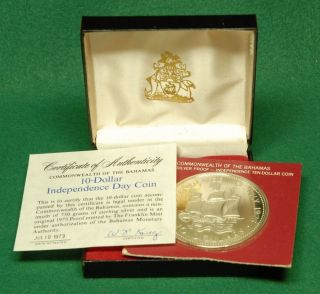 1973 Bahamas $10 (10 Dollar) Silver Proof Coin,  Independence Day,  With Case photo