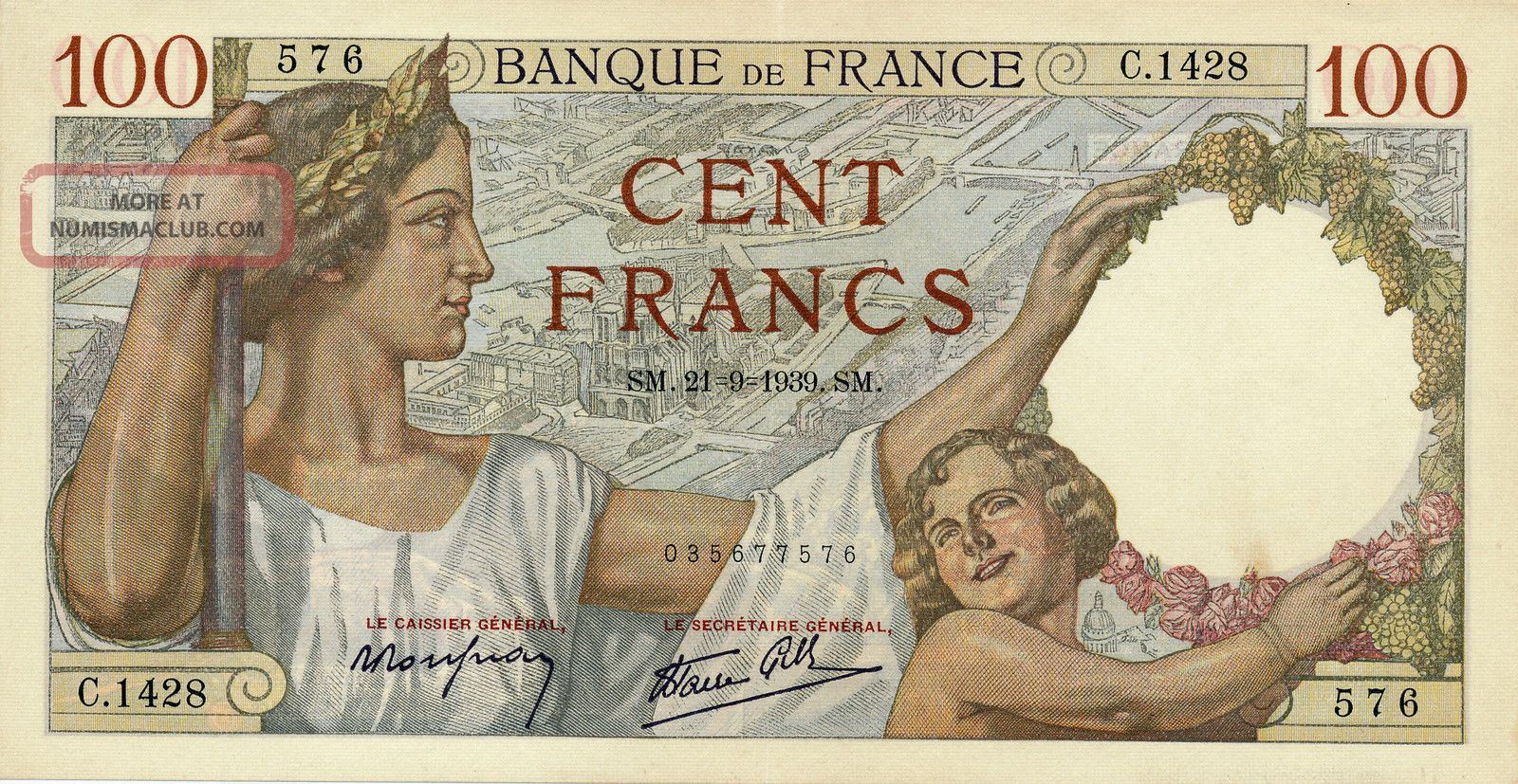 Banque De France France 100 Francs 1939 Au Europe photo
