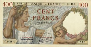Banque De France France 100 Francs 1939 Au photo