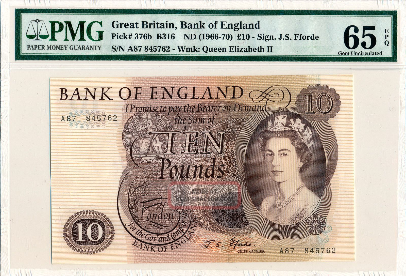 Bank Of England Great Britain 10 Pounds Nd (1966 - 70) Pmg 65epq Europe photo