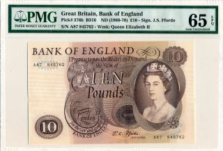 Bank Of England Great Britain 10 Pounds Nd (1966 - 70) Pmg 65epq photo