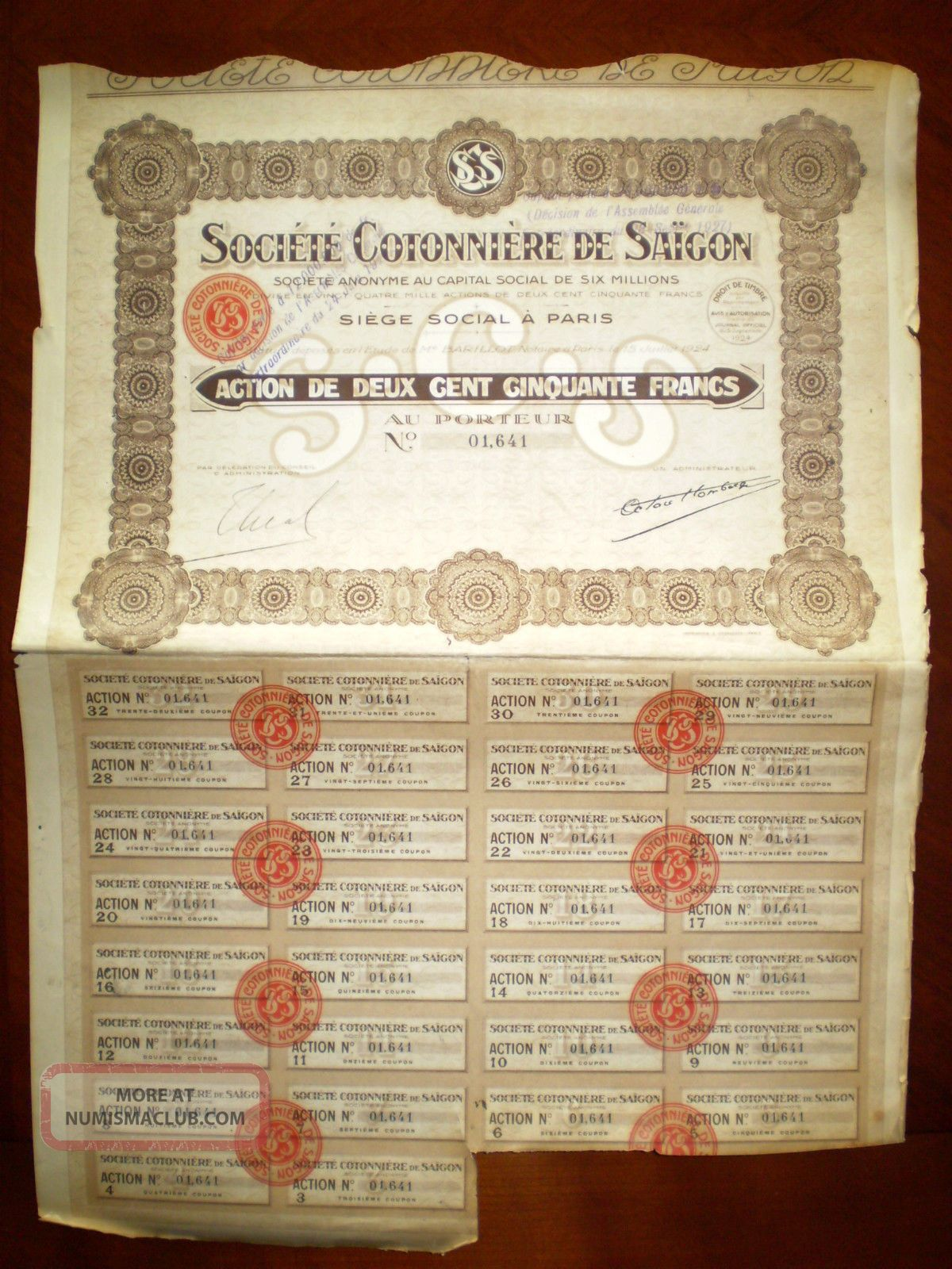 Société Cotonnière De Saigon,  Share Certificate.  Viet Nam 1926 Vf/ef World photo