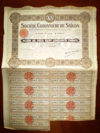 Société Cotonnière De Saigon,  Share Certificate.  Viet Nam 1926 Vf/ef photo