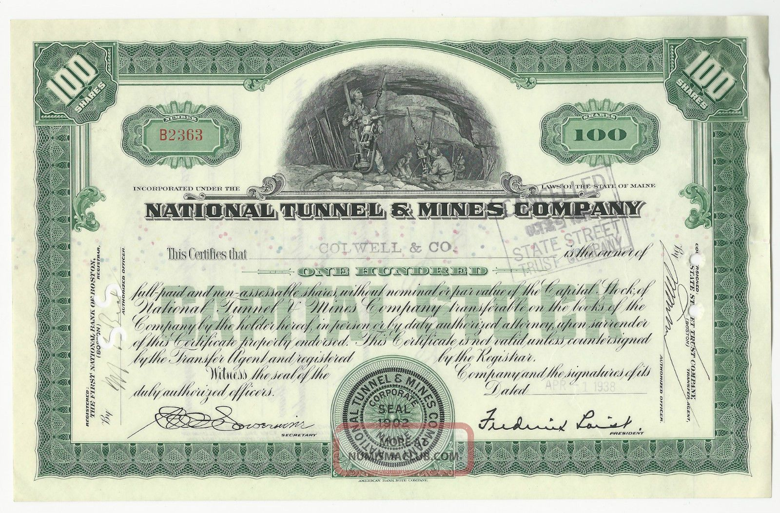 National Tunnel And Mines 1938 Stock Certificate Workman Drilling In Mine Stocks & Bonds, Scripophily photo
