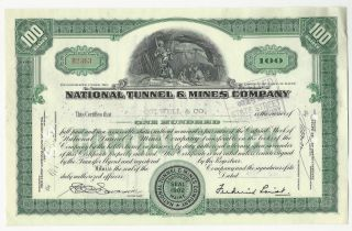 National Tunnel And Mines 1938 Stock Certificate Workman Drilling In Mine photo