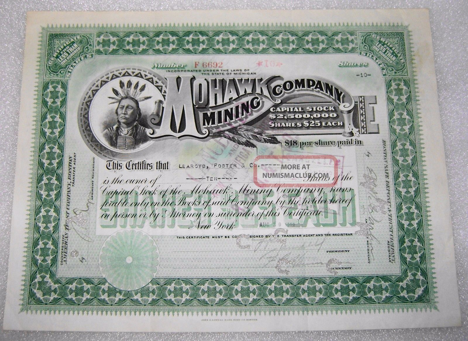 Antique Michigan Mohawk Mining Company Native American Stock Certificate 1919 Stocks & Bonds, Scripophily photo