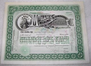 Antique Michigan Mohawk Mining Company Native American Stock Certificate 1919 photo