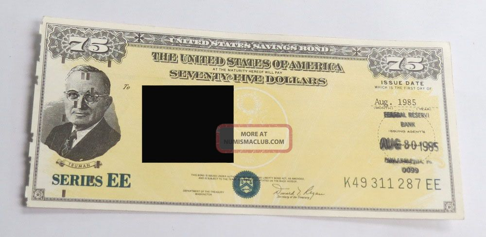 Us Savings Bond Ee Presidential $75 Aug 1985 - Sep 1985 Stocks & Bonds, Scripophily photo