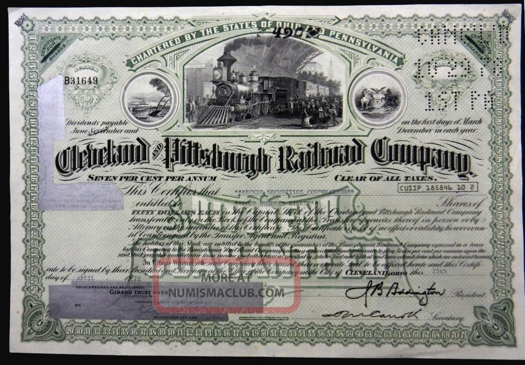Stock Certificate 1978 Cleveland Pittsburgh Rr Co 490 Shares Capital Pennsyvania Transportation photo