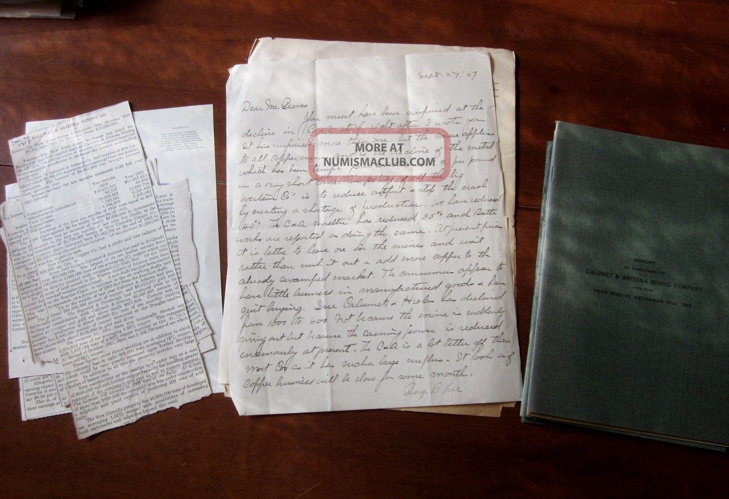 Calumet,  Arizona Mining Company Annual Reports 1915,  1907 Letter Copper,  Old,  Rare Stocks & Bonds, Scripophily photo