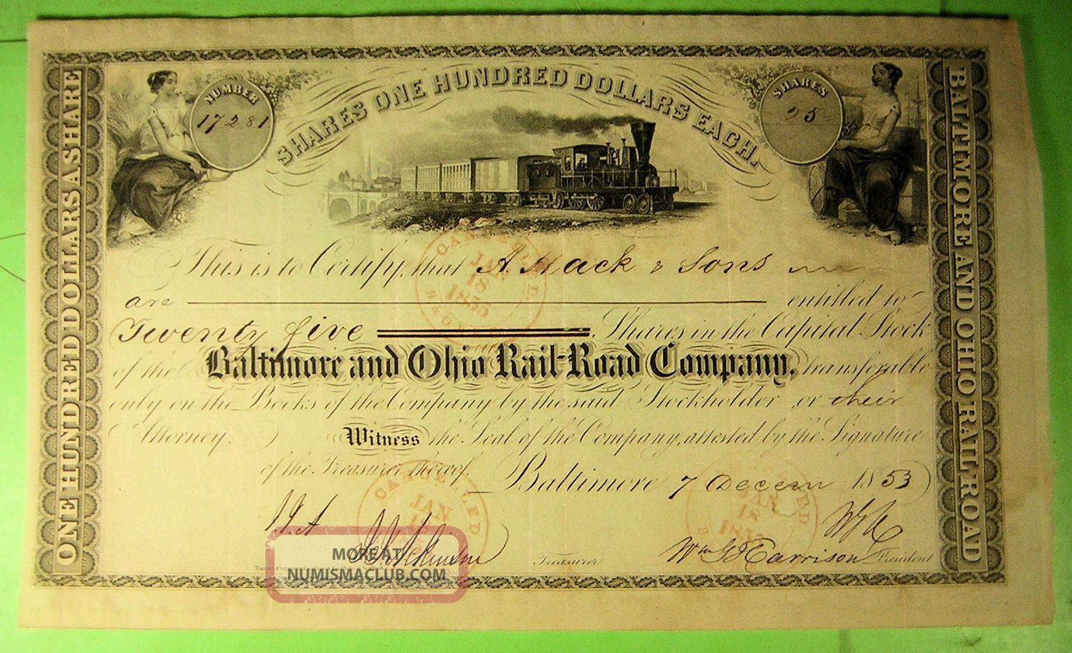 1853 Baltimore & Ohio Rail Road Co Stock Certificate.  Early Vignettes. Transportation photo