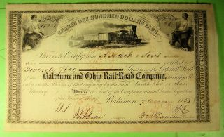 1853 Baltimore & Ohio Rail Road Co Stock Certificate.  Early Vignettes. photo