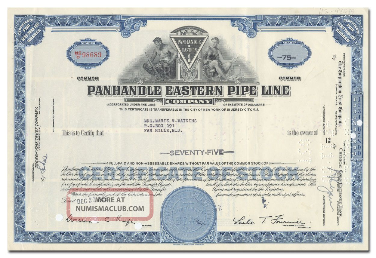 Panhandle Eastern Pipe Line Company Stock Certificate Stocks & Bonds, Scripophily photo