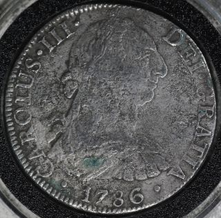 1786 Mexico 8 Reales Silver Coin - Appears To Be Shipwreck Coin But No Papers photo