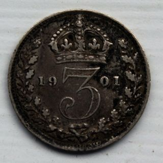 1901 Great Britain Threepence Queen Victoria Silver Coin photo