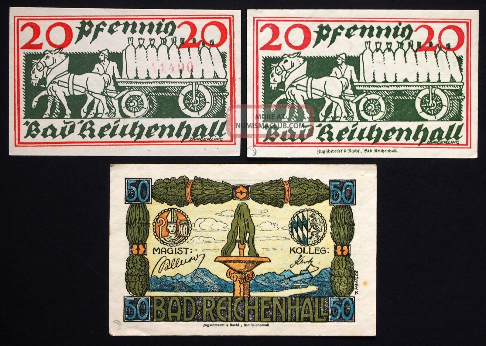 Bad Reichenhall 1919/1920 2x20,  50 Pf Serial No.  Variants German Notgeld Europe photo