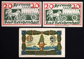 Bad Reichenhall 1919/1920 2x20,  50 Pf Serial No.  Variants German Notgeld photo