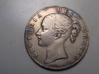 1844 Silver Crown.  Great Britain.  Young Head Victoria photo